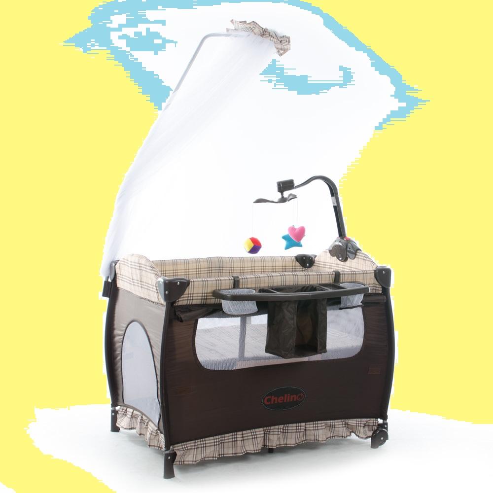 Baby cribs co za - Tiffany Baby Camp Cot Brown Check